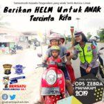 Srikandi Sat Lantas Polres Kutim Sosialisasikan Pentingnya Penggunaan Helm Usia Dini