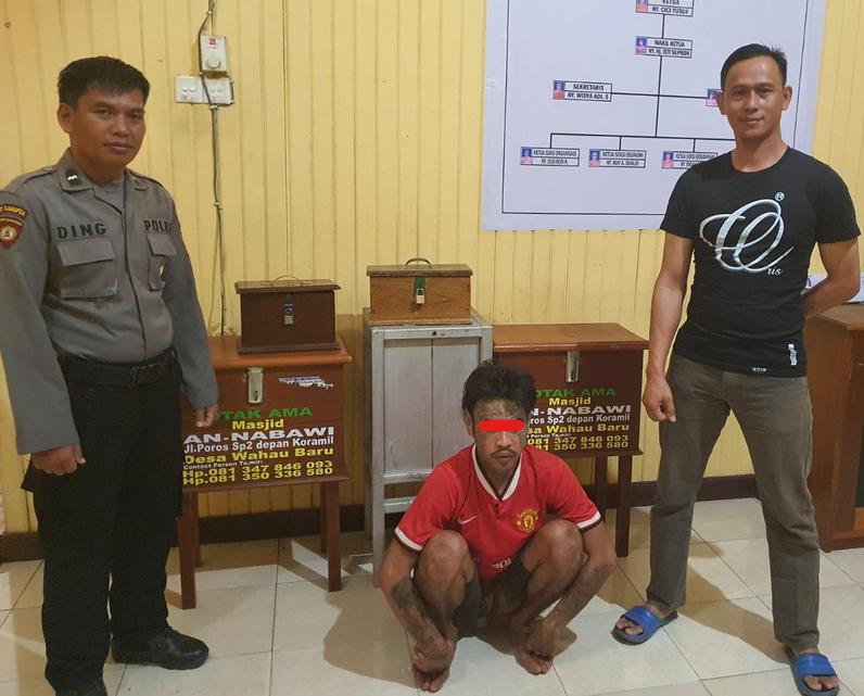 Ke Masjid Bukan Beribadah, Malah Bobol 5 Kotak Amal