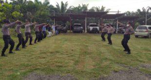 Cegah Tindak Pidana, Polsek Kongbeng Laksanakan Latihan Beladiri