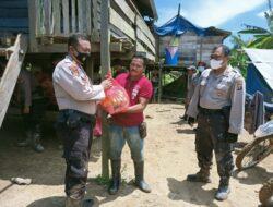 Kasat Samapta Polres Kutim Bersama Personilnya Naik Trail Sambangi Warga Kampung Melawan Desa Persiapan Pinang Raya